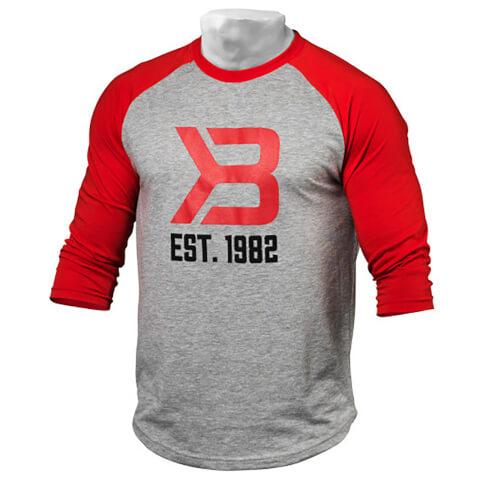 Better Bodies Men's Baseball T-Shirt - Red/Grey