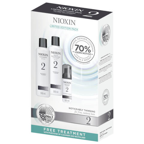 NIOXIN System 2 Cleanser And Conditioner 2 x 300ml With Free 100ml Treatment