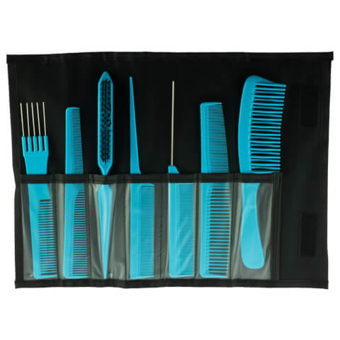 Salon Smart 7 Comb Set In Folding Pouch Teal