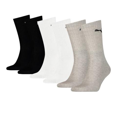 Puma Men's 6 Pack Crew Socks - Black/White/Grey