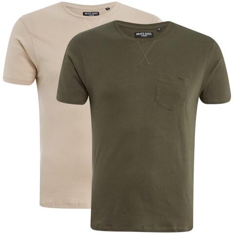 Lot de 2 T-Shirts Hommes Arkham Brave Soul -Kaki/Beige
