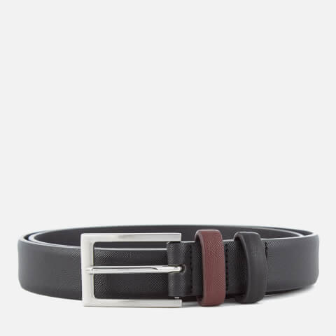 Ben Sherman Men's Bonded Leather Saffiano Belt - Black/Red