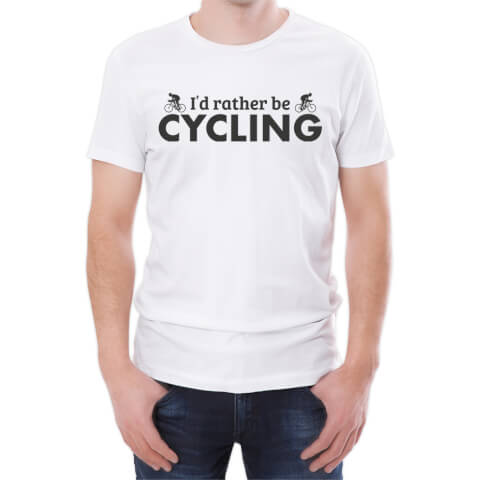 T-Shirt Homme I'd Rather Be Cycling -Blanc
