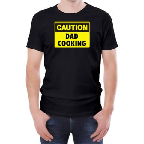 Caution Dad Cooking Men's Black T-Shirt