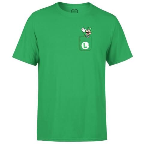 Nintendo Super Mario Luigi Pocket Print Men's Green T-Shirt