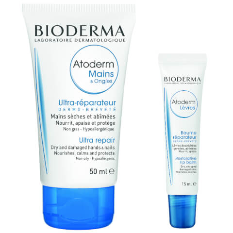 Bioderma Atoderm Ultra Repair Hand and Nail Cream and Restorative Lip Balm Duo