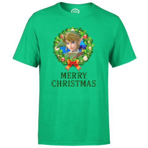 Nintendo Link Legend Of Zelda Merry Christmas Wreath Green T-Shirt