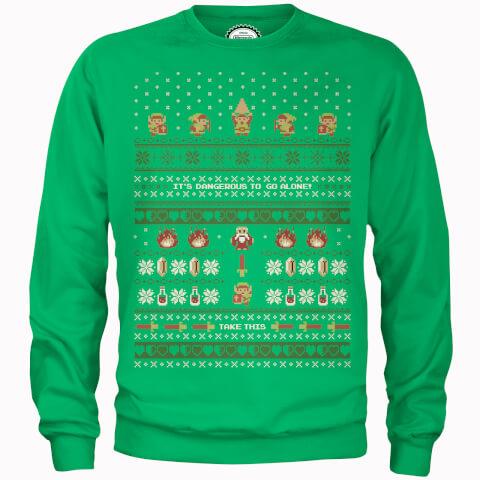 Nintendo Legend Of Zelda It's Dangerous To Go Alone Green Christmas Sweatshirt