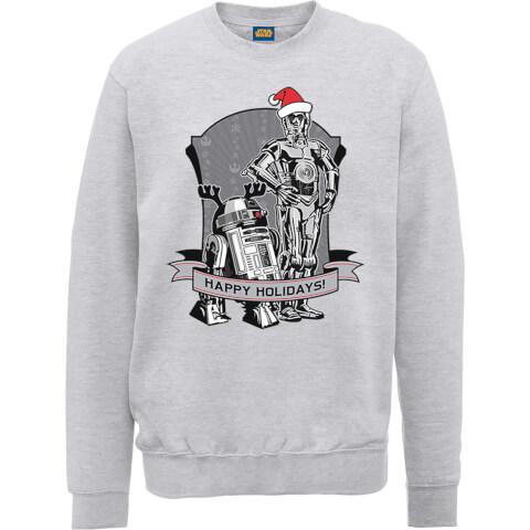 star wars happy holidays droids grey christmas sweatshirt iwoot. Black Bedroom Furniture Sets. Home Design Ideas