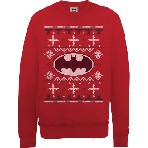 DC Batman Christmas Knit Logo Red Christmas Sweatshirt