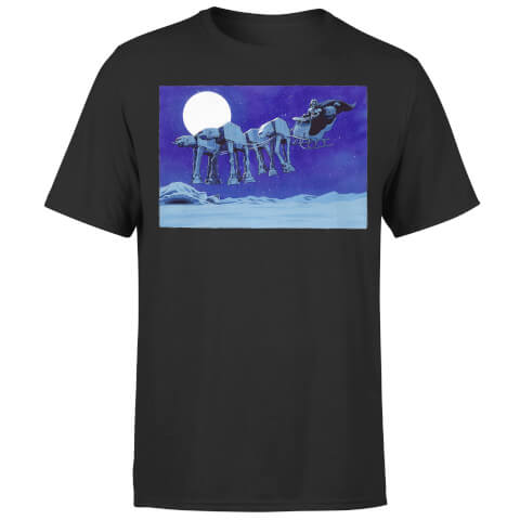 Star Wars Christmas ATAT Darth Vader Sleigh Black T-Shirt