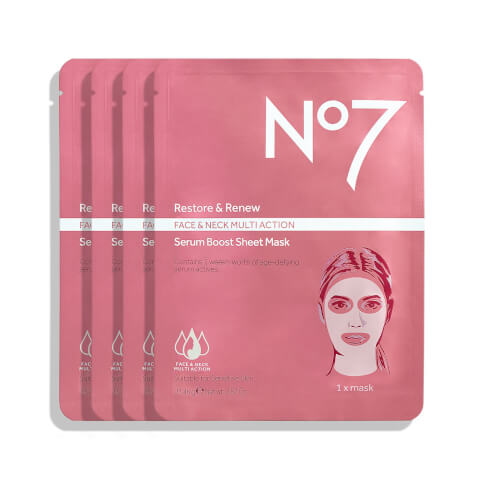 Restore & Renew Multi Action Face & Neck Serum Boost Sheet Mask (4 Pack)