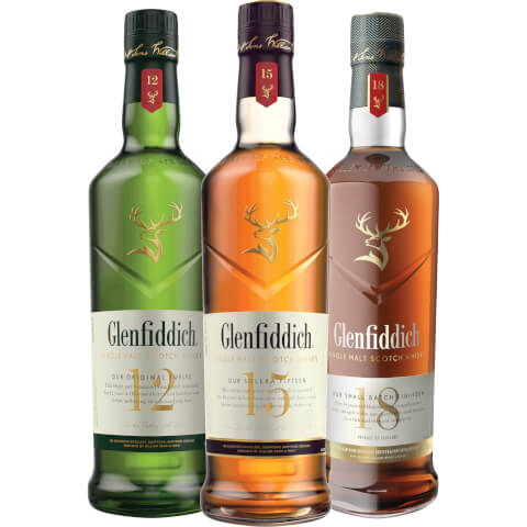 Glenfiddich Single Malt Scotch Whisky Exploration - Aged 12, 15 and 18 Years
