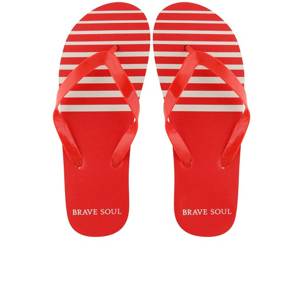 Brave Soul Men's Coast Flip Flops - Red