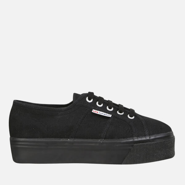 Superga Women's 2790 ACOTW Linea Up and Down Flatform Trainers - Full Black:  Image 1