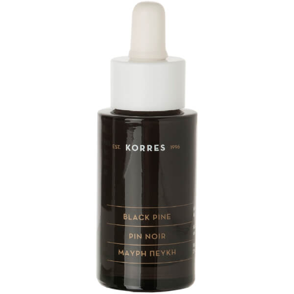 KORRES Black Pine Anti-Wrinkle and Firming Face Serum Bottle and Dropper (30ml)