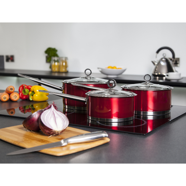 Morphy Richards Red Kitchen Accessories: Morphy Richards 46391 3 Piece Saucepan Set