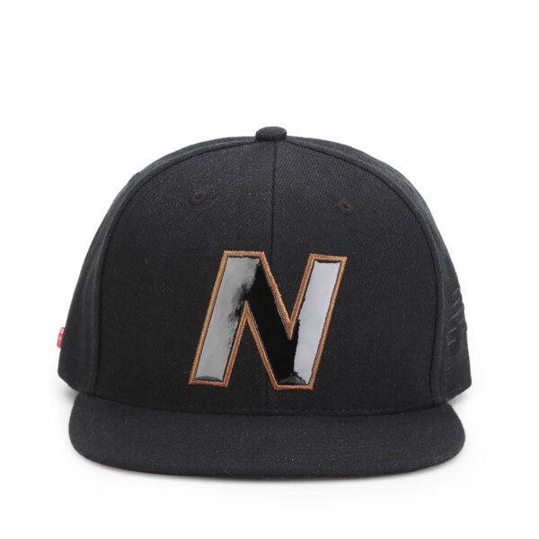 New Balance Unisex Snap 6 Panel Flat Peak Baseball Cap - Acrylic Black/Brown