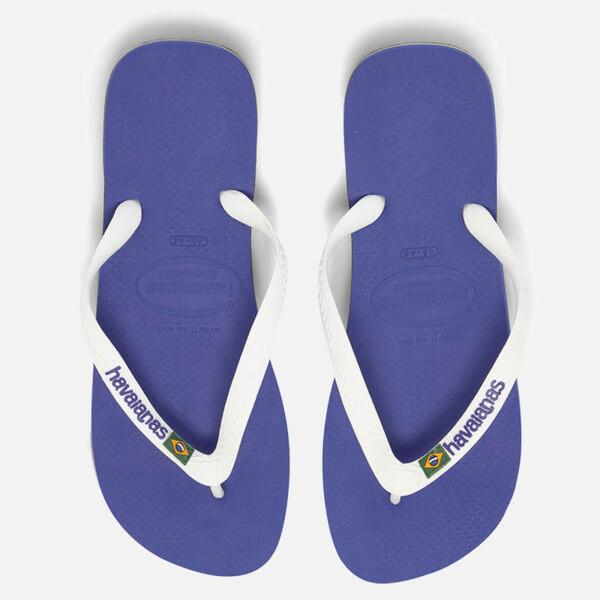 fe23faf6c6058e Havaianas Brasil Logo Flip Flops - Marine Blue Womens Footwear ...