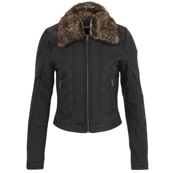 Brave Soul Women's Hanna Quilted Faux Fur Trim Jacket - Black