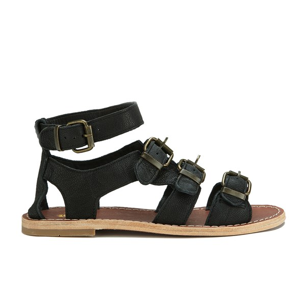 Hudson London Women's Newton Buckle Flat Leather Sandals - Black