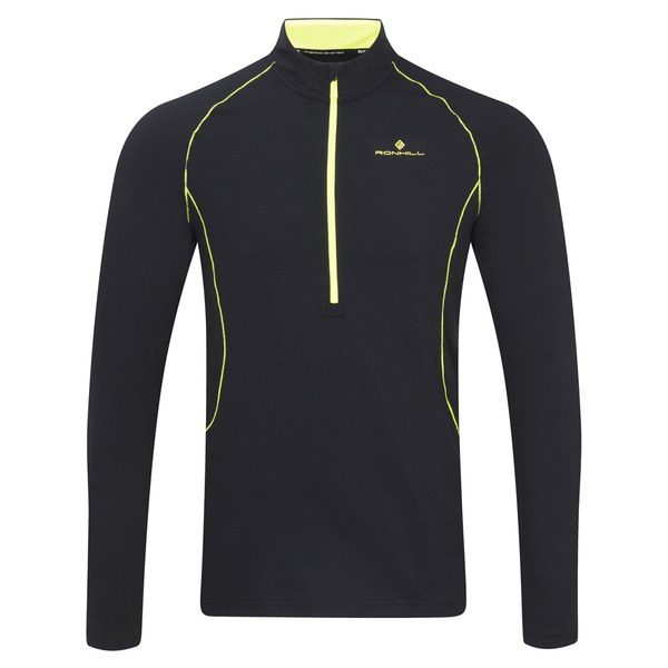 Ronhill men 39 s base thermal 200 1 2 zip t shirt black for Mens black thermal t shirts
