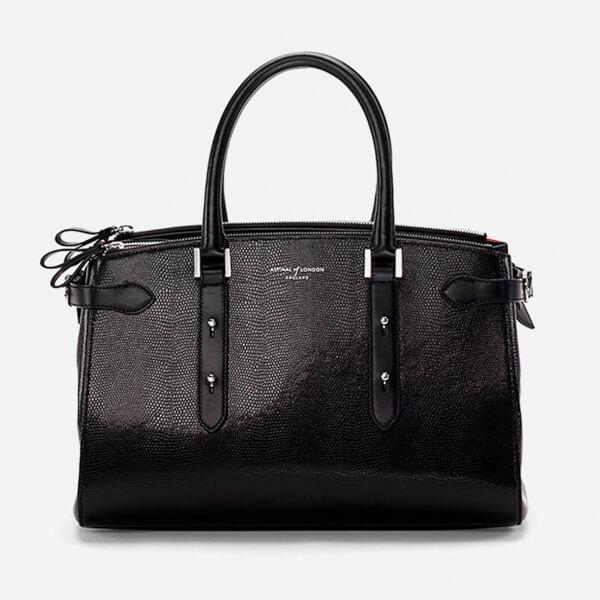 Aspinal of London Women's Brook Street Bag - Black Lizard