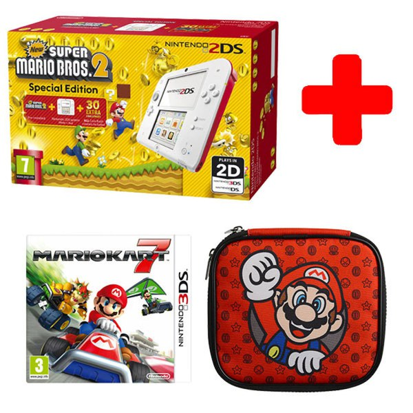 Nintendo 2ds super mario double pack nintendo official uk store - Console 3ds xl blanche avec mario kart 7 ...