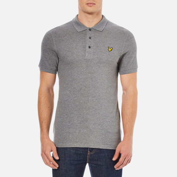 Lyle & Scott Men's Short Sleeve Plain Pique Polo Shirt - Mid Grey Marl