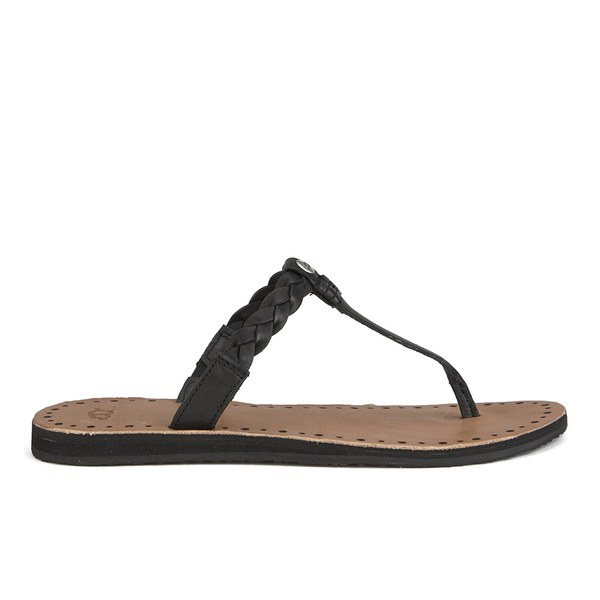 Ugg Womens Bria Leather Flip Flops - Black - Free Uk Delivery Over 50-6027