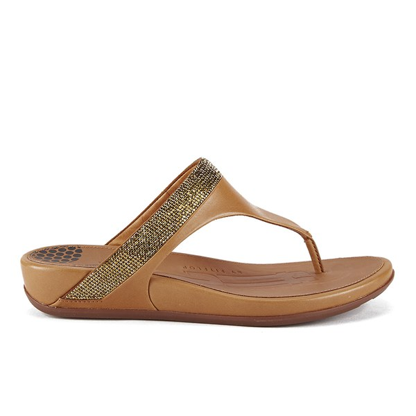 ed383a664adb FitFlop Women s Banda Micro-Crystal Toe Post Sandals - Tan  Image 1