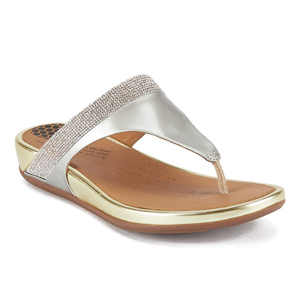 6e47e89d28b7 FitFlop Women s Banda Micro-Crystal Leather Toe Post Sandals - Pale Gold   Image 3