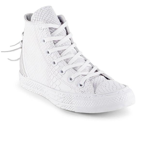 4248141e4349c4 Converse Women s Chuck Taylor All Star Leather Tri-Zip Hi-Top Trainers-  White