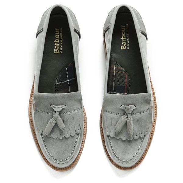 7f76f02473d Barbour Women s Amber Suede Tassel Loafers - Soft Grey  Image 2