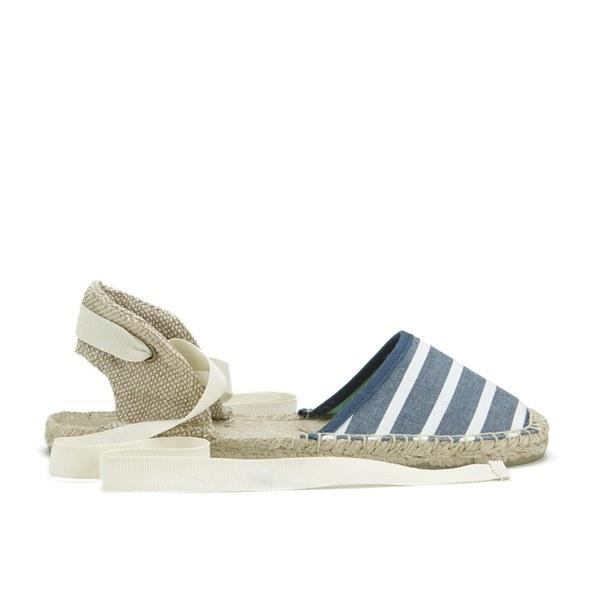 28d7c6ba7f6f Soludos Women s Classic Stripe Woven Ankle Strap Espadrilles - Light Navy  White  Image 1
