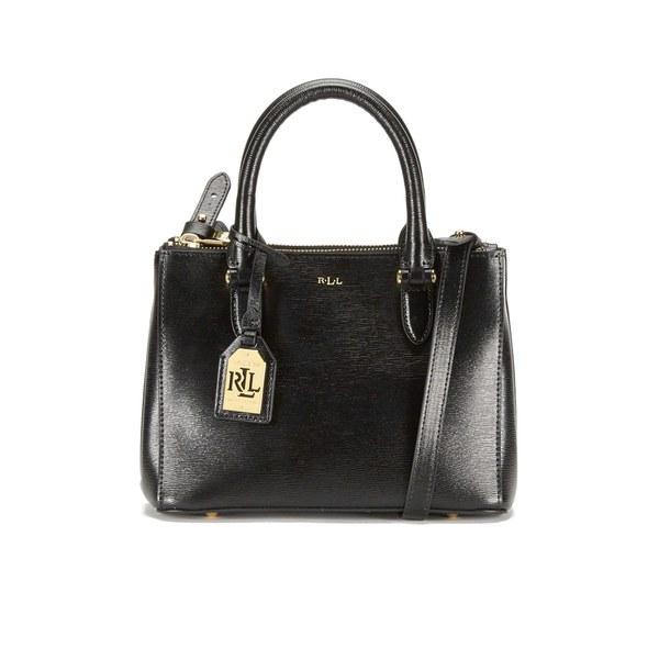 Lauren Ralph Women S Newbury Mini Double Zip Satchel Black Gold Image 1