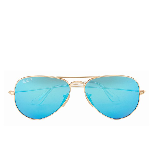 Ray-Ban Aviator Large Metal Sunglasses - Matte Gold/Blue Mirror Polar - 58mm