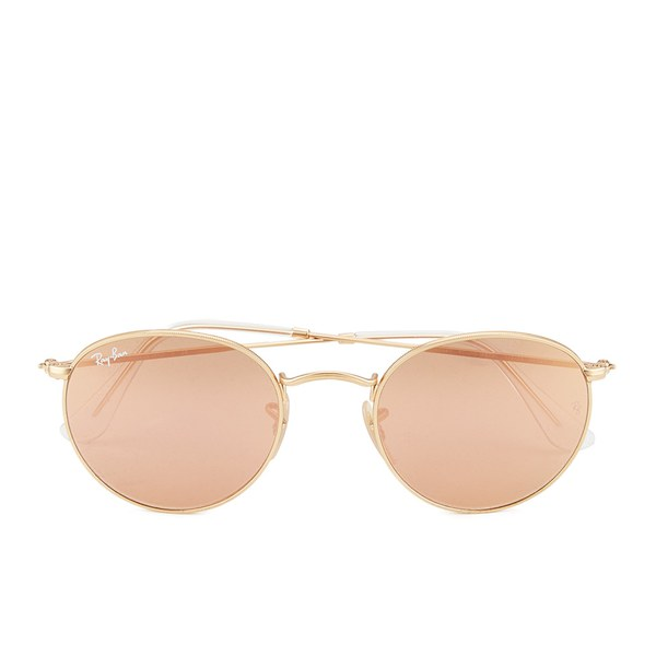 Ray-Ban Round Metal Sunglasses - Matte Gold/Brown Mirror Pink - 50mm