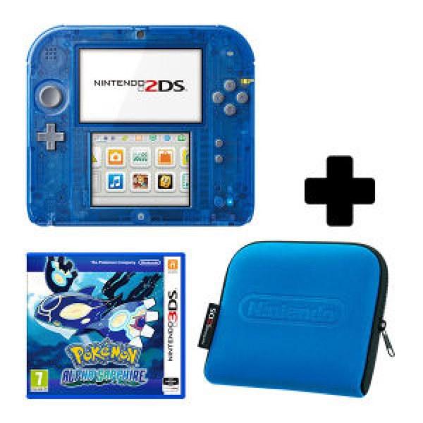 Nintendo 2DS Transparent Blue Pokémon Alpha Sapphire Pack ...