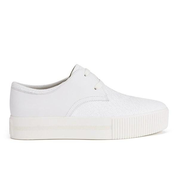 Ash Women's Keanu Cracked Leather Flatform Trainers - White