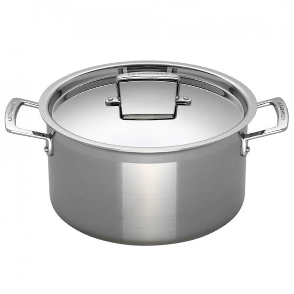 Le Creuset 3-Ply Stainless Steel Deep Casserole Dish with Lid - 24cm