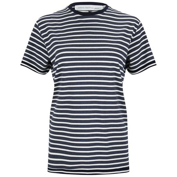 Victoria Beckham Women's Cap Sleeve T-Shirt - Navy/White Stripe