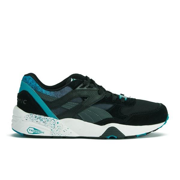 Puma Men's R698 Splatter Trainers - Black/Blue: Image 1