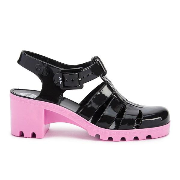 JuJu Women's Babe Heeled Jelly Sandals - Black/Flamingo