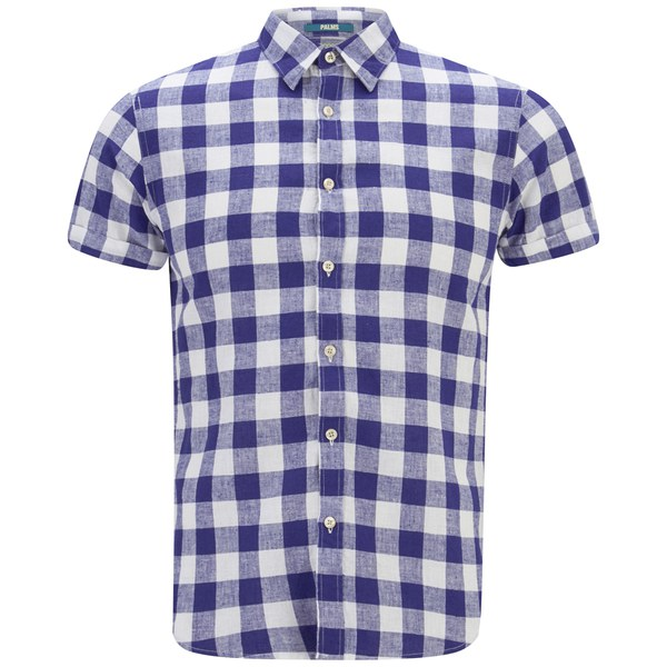 Scotch soda men 39 s short sleeve linen shirt blue white for Mens short sleeve linen dress shirts