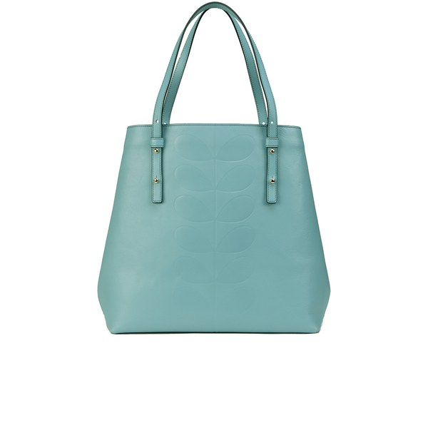 Orla Kiely Women s Willow Embossed Stem Leather Tote Bag - Sky  Image 1 15367a4a4d2ec