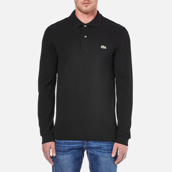 3a4bb0edae8eba Lacoste Men s Long Sleeve Polo Shirt - Black Clothing