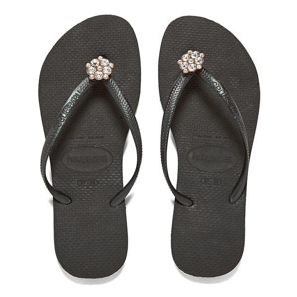 8cba145fa04cad Havaianas Women s Slim Crystal Poem Flip Flops - Black Dark Grey  Image 1