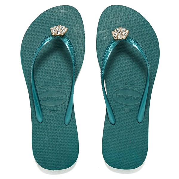 4c78b8d164b89f Havaianas Women s Slim Crystal Poem Flip Flops - Green Blue Womens ...
