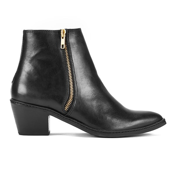H Shoes by Hudson Women's Azi Double Zip Pointed Leather Ankle Boots - Black